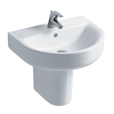 IDEAL STANDARD Concept Arc 55cm 1 TH Basin and Semi-Pedestal E785201 + E783901