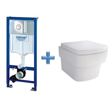 GROHE Rapid SL 1.13m 3 in 1 WC Set 38860 c/w Bloque Wall Hung Toilet Pan and SC Seat