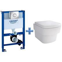 GROHE Rapid SL 0.82m 3 in 1 WC Set 38868 c/w Bloque Wall Hung Toilet Pan and SC Seat