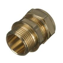 "22MMX3/4"" MALE IRON BRASS COMPRESSION COUPLER"