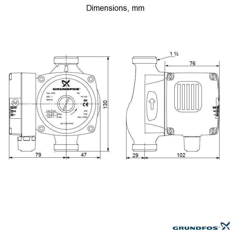 grundfos ups2 15 60 130 circulating replacement pump