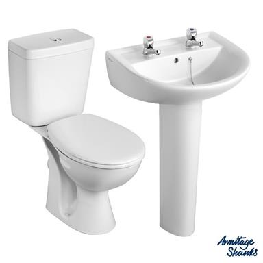 ARMITAGE SHANKS Sandringham21 'Toilet and 2 TH Basin To Go' Pack S049401