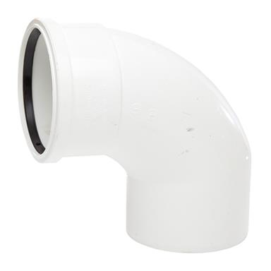 SB409 110MM POLYPIPE 92 DEGREE SINGLE SOCKET / SPIGOT BEND WHITE