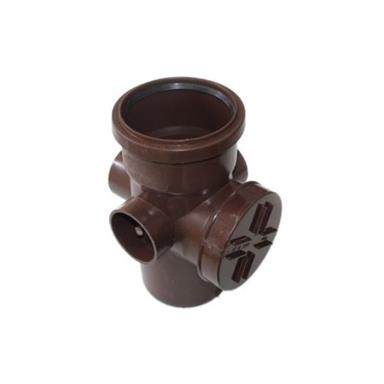 SA43 POLYPIPE 110MM ACCESS PIPE SINGLE SOCKET 3 BOSS BROWN