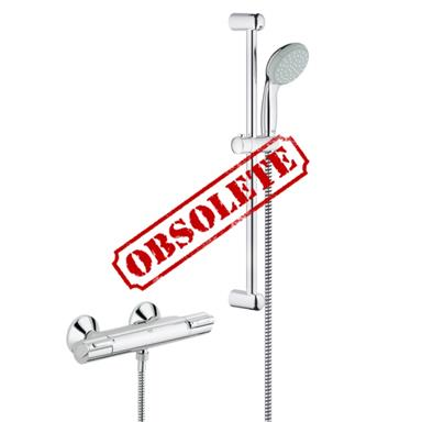 "GROHE Grohtherm 1000 Thermostatic 1/2"" EV Bar Shower Kit, Chrome Plated, 34151 001"