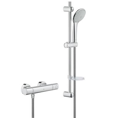 "GROHE Grohtherm 1000 Cosmopolitan 3/4"" EV Bar Shower Kit, Chrome Plated, 34437 000"