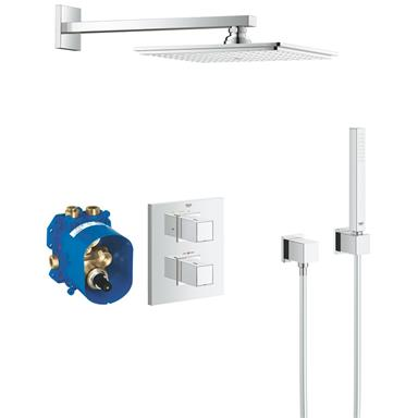GROHE Grohtherm Cube Square Concealed Shower System, Chrome Plated, 34506 000
