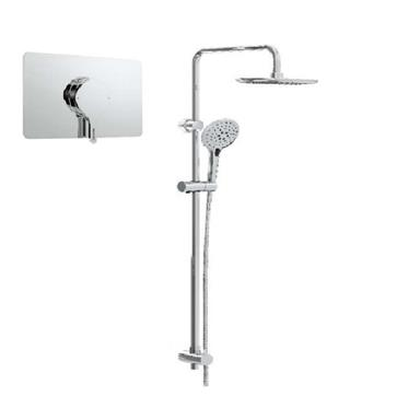 BRISTAN Flute Concealed Sequential ChromeShower Valve with Diverter and Rigid Riser