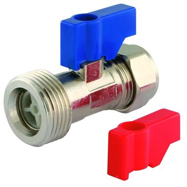 Straight Washing Machine Tap 15mm CompleteWith Check Valve