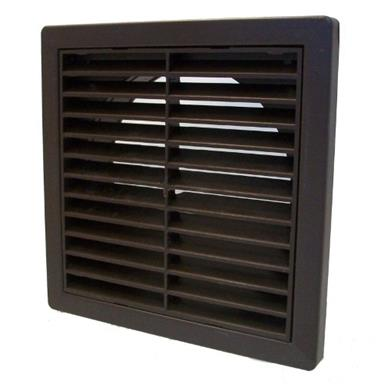 MANROSE EXTERNAL LOUVRED GRILLE W/ 125MM ROUND SPIGOT BROWN