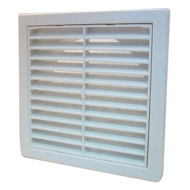 MANROSE EXTERNAL LOUVRED GRILLE W/ 125MM ROUND SPIGOT WHITE