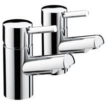 BRISTAN Prism Basin Pillar Taps Chrome Plated Lever Handles Pair PM 1/2 C