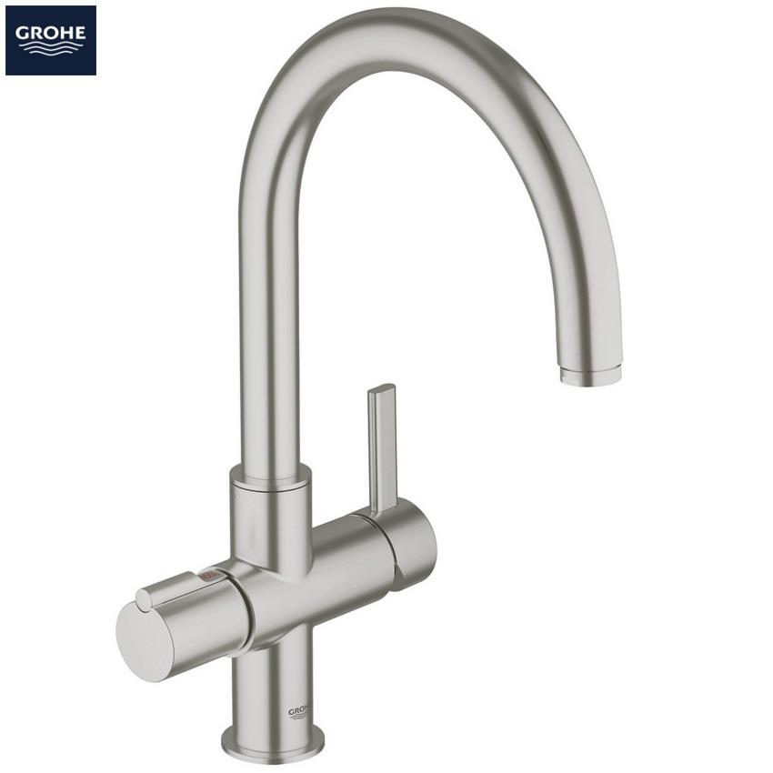 grohe red duo kitchen mixer arched spout and single. Black Bedroom Furniture Sets. Home Design Ideas