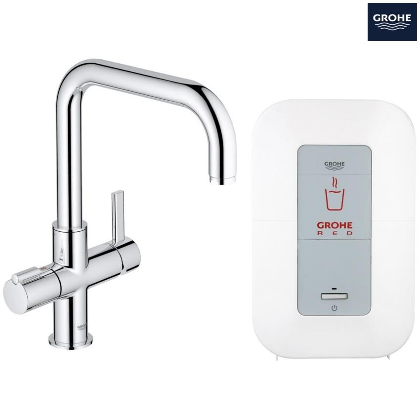 grohe red duo kitchen mixer square spout and single boiler 4ltrs chrome 30153 000. Black Bedroom Furniture Sets. Home Design Ideas