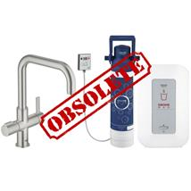 GROHE Red Duo Kitchen Mixer, Square Spout and Single Boiler 4l Supersteel, 30153 DC0