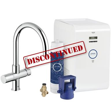 GROHE Blue Chilled Filter Kitchen Mixer Starter Kit, Chrome Plated, 31382 000