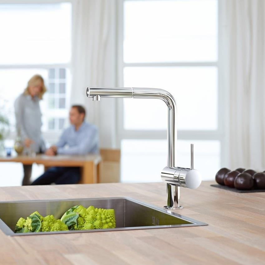 Grohe Minta Monobloc Kitchen Sink Mixer L Shaped Pull Out