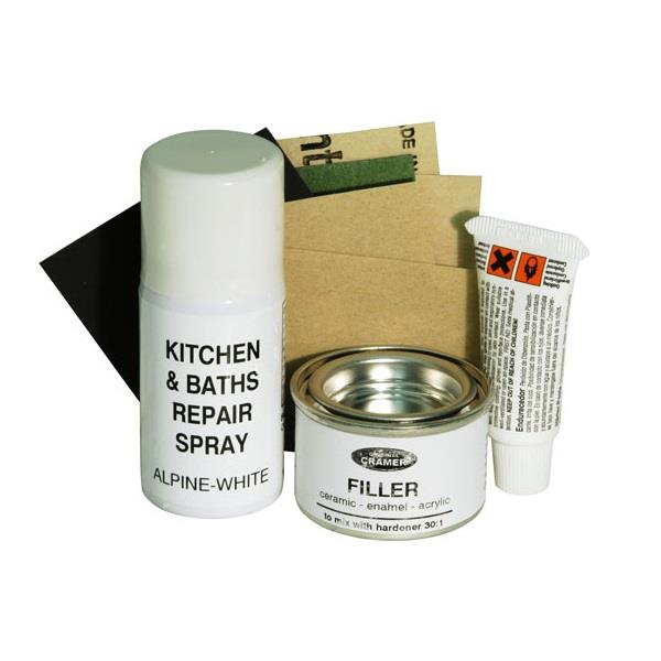 and baths ceramic enamel acrylic repair kit alpine white 16080