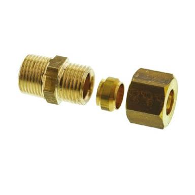 "Compression Male Coupling Taper Thread, 10mm x 3/8"", Brass"