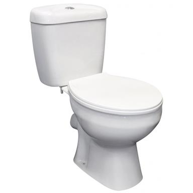 PlumbForLess Close Coupled WC Set incl. WC Pan, Cistern, Seat and Cover, White Finish
