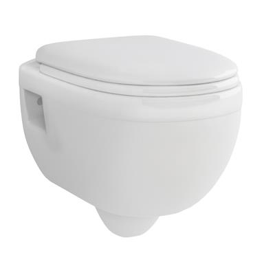 PlumbForLess Ivo Round Wall Hung Pan and Slow Close WC Set, White