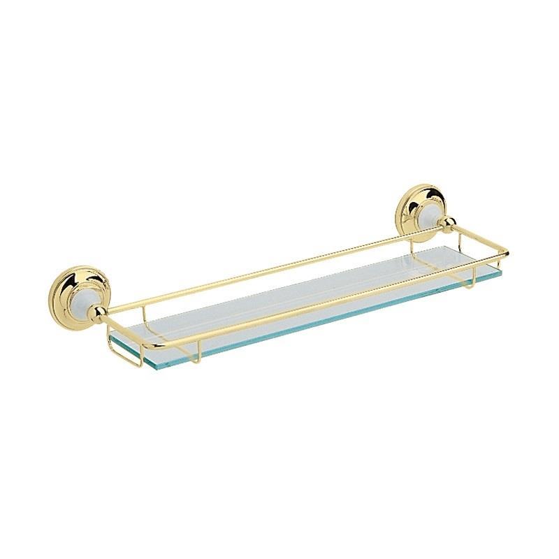 Heritage Bathroom Accessories: Heritage Clifton Glass Shelf Vintage Gold, ACA08