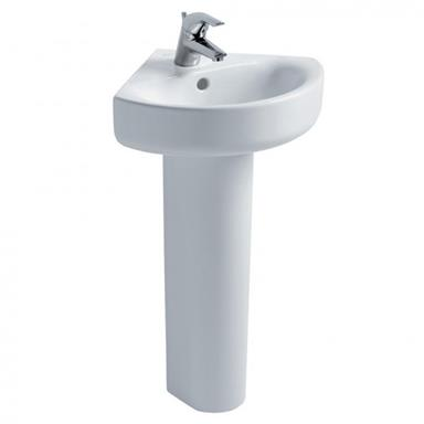 IDEAL STANDARD Concept Arc 45cm 1 TH Corner Basin and Full Pedestal E792801+ E783801