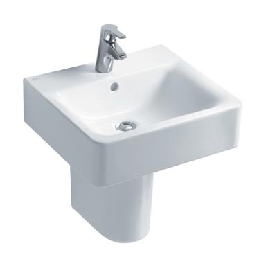 IDEAL STANDARD Concept Cube 50cm 1 TH Basin and Semi-Pedestal E788101 + E783901