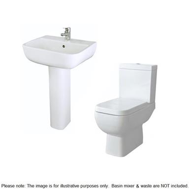RAK CERAMICS Series 600 Close Coupled SlowClose WC Set and 520mm 1TH Basin and Ped