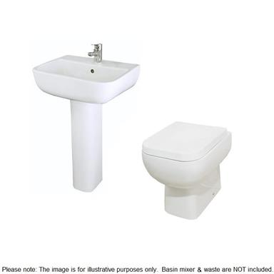RAK CERAMICS Series 600 Back To Wall SlowClose WC Set520mm 1 taphole basin and ped
