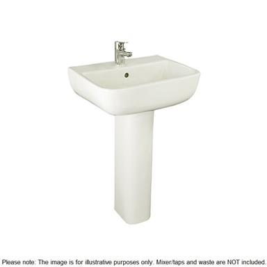 RAK CERAMICS Series 600 52cm 1 TH Basin and Full Pedestal, S60052BAS1 + S600PED