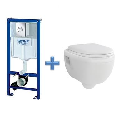 GROHE 38860 Concealed Cistern Kit Frame c/w Wall Hung Toilet Pan