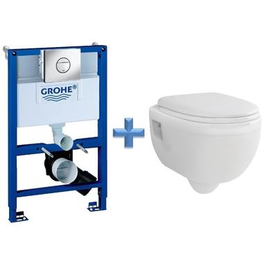 GROHE 38868 Concealed Cistern Kit Frame c/w Wall Hung Toilet Pan