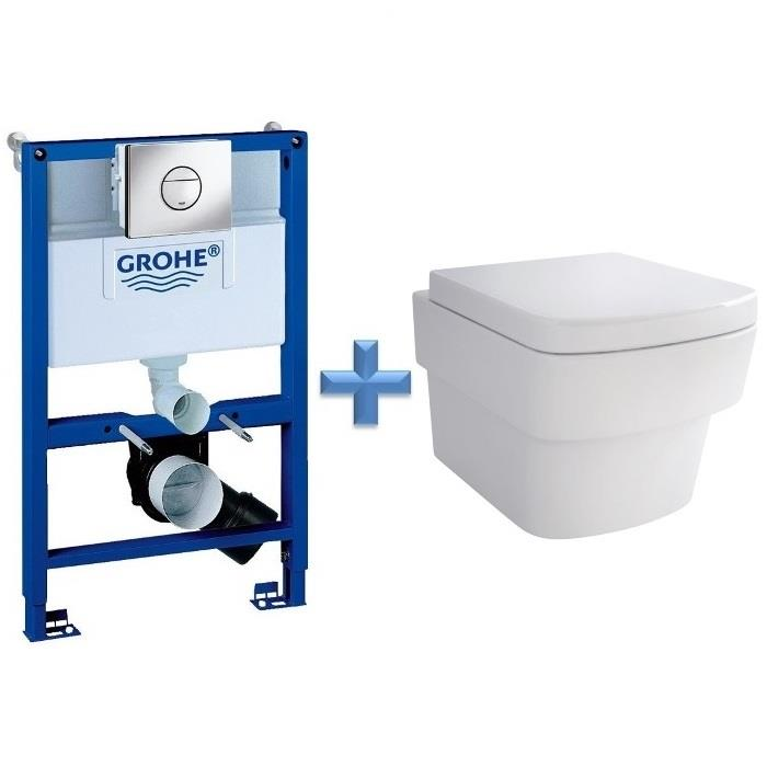 grohe rapid sl 3 in 1 wc set 38868 c w bloque wall hung toilet pan and sc seat. Black Bedroom Furniture Sets. Home Design Ideas