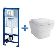 GROHE Rapid SL 1.13m 3 in 1 WC Set 38772 c/w Bloque Wall Hung Toilet Pan and SC Seat