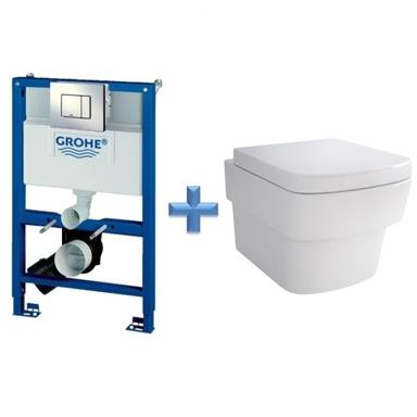 GROHE Rapid SL 0.82m 3 in 1 WC Set 38773 c/w Bloque Wall Hung Toilet Pan and SC Seat