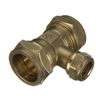 28MMx28MMx22MM BRASS COMPRESSION BRANCH REDUCING TEE