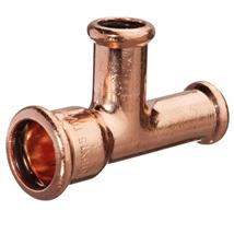 M-PRESS Copper 28mm x 22mm x 22mm Branch and End Reducing Tee, 68115282222