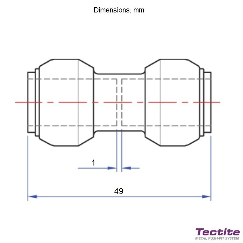 TECTITE Classic T1/T270 10mm Straight Coupling, 45108