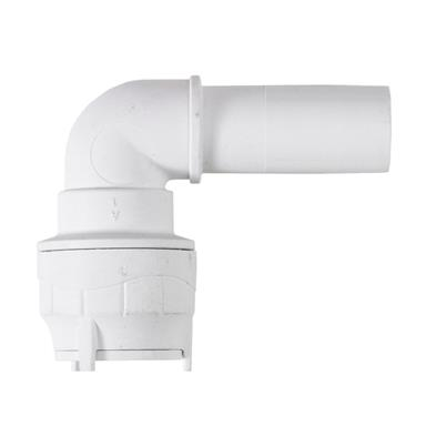 POLYPIPE PolyFit 22mm 90Deg Spigot Elbow, White, FIT1022