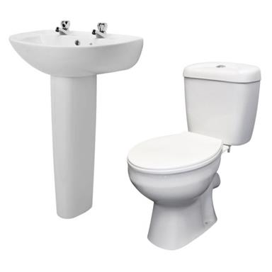 PlumbForLess 5 Piece Bathroom Suite Pack incl. 2 TH Basin