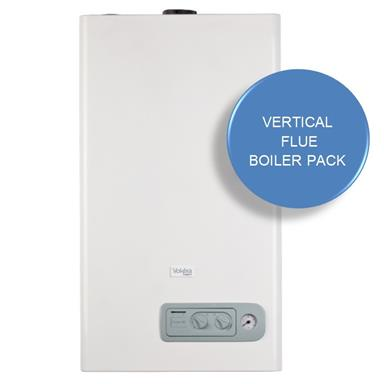 VOKERA Compact 25A Combination Boiler, Vertical Flue and RF Thermostat Boiler Kit