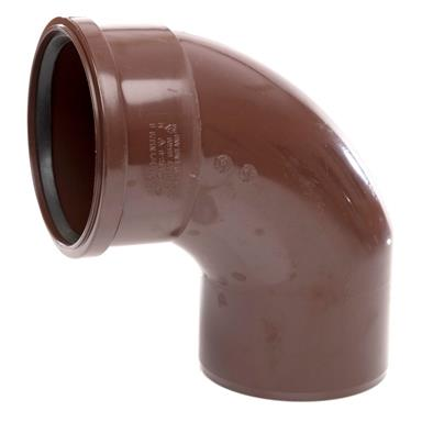 SB409 110MM POLYPIPE 92 DEGREE SINGLE SOCKET BEND BROWN