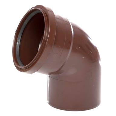 SB411 110MM POLYPIPE 112 DEGREE SINGLE SOCKET BEND BROWN