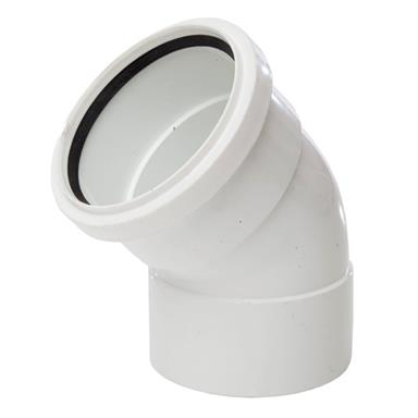SB403 110MM POLYPIPE 135 DEGREE DOUBLE SOCKET OFFSET BEND WHITE