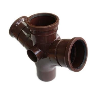 SU422 110MM POLYPIPE 112 DEGREE DOUBLE BRANCH BROWN