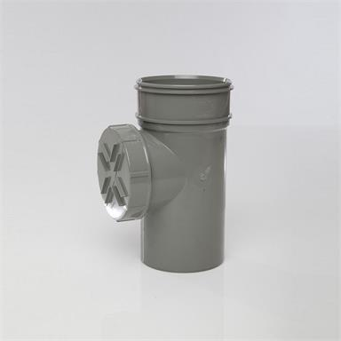 SWA88 POLYPIPE 110MM SHORT ACCESS PIPE SINGLE SOCKET GREY