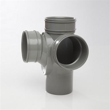 SCB105 POLYPIPE TRIPLE SOCKET CORNER BRANCH SOLVENT GREY