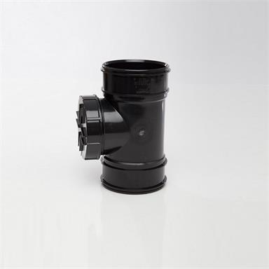 SWA44 POLYPIPE 110MM SHORT ACCESS PIPE DOUBLE SOCKET BLACK