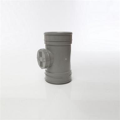 SWA63 POLYPIPE 160MM SHORT ACCESS PIPE DOUBLE SOCKET GREY